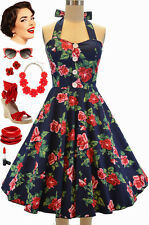 50s Style Miss Mabel NAVY & RED ROSE FLORAL Pinup HALTER Sun Dress with BUTTONS
