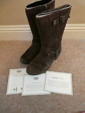 ⭐️ UGGS ⭐️ Brown Leather Biker Style Sheep Lined Zip up Boots Size 2 US 3 E 33