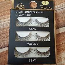 3 Pairs Natural Eye Lashes Makeup Handmade Thick Fake Cross False Eyelashes Set