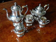 5 PIECE POOLE STERLING SILVER TEA AND COFFEE SET PATTERN GEORGIAN 1027