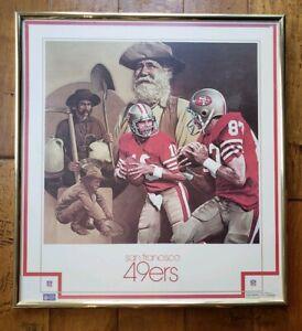 """Vintage Framed Poster By Chuck Ren NFL 1982 49ers """"The Catch"""" Joe Montana Clark"""
