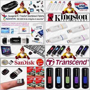 Clé USB ADATA KINGSTON SANDISK TRANSCEND - Capacité : 4 8 16 32 ou 64 Go Gb Giga