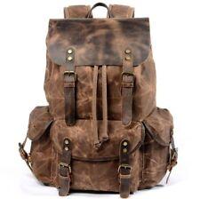 Waterproof Men's Canvas+Real Leather Backpack Sport Travel Bag Laptop Bag Large