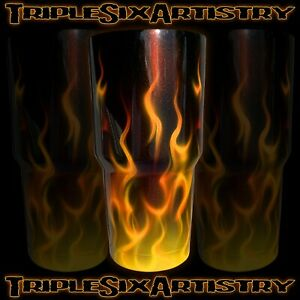 Airbrushed Tumbler Cup Natural Fire Flame Jaymz Triple Six Artistry 30 oz