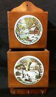 Vtg Enesco Homestead In Winter & Wilderness Ceramic Plaques Wood Mail Keys Wall