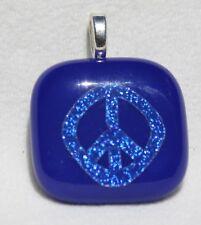 Fused Dichroic Glass Pendant-Blue Peace sign #267