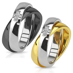 Acciaio Inox Anello Incrociati Zirconia Croce Nero Oro Argento di Fidanzamento