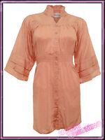 Womens Plus Size Top Ladies Peach Rich Cotton Blouse Plain Tunic Top UK 20 22