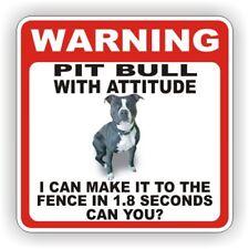 PIT BULL BLACK DOG WARNING SIGN  FENCE 12 X 12 POLY STY