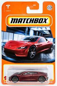 2021 Matchbox #4 Tesla Roadster MATTE BURGUNDY RED MULTICOAT / MOC