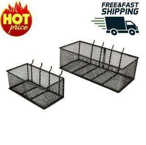 Steel Mesh Pegboard Basket in Black (2-Pack) Rustproof Steel NEW