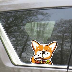 Corgi Eating Ramen Car Sticker / Dog Vinyl Car Decal Weather Resistant Outdoor