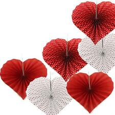 12pk VALENTINES DAY Red White Polka Dotted Heart Shaped Paper Fans Decorations