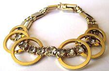 Rare bracelet bijou vintage couleur or cristaux diamant chaîne sécurité  490