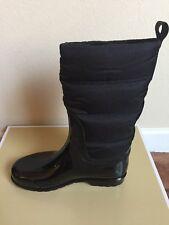 NIB $165 Michael Kors Cabot Black Quilted Rubber & Nylon Rain Boots Sz 6