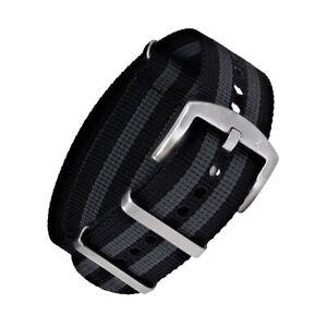 NATO Armband Schwarz Grau mit silberner Dornenschließe   22mm für Arbanduhr