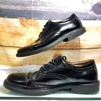 Merona Mens Cap Toe Leather Oxford Size 11 Black Lace Up Comfort Gel Inner Soles
