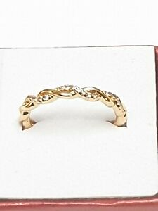 Genuine Diamond Infinity Love Knot Twist Ring In 10k Rose Gold