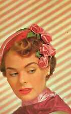 Riproduzione Cartolina Donne e Moda 1955 Bellezza Americaneggiante