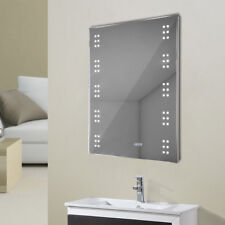 Electric LED Illuminated/Lighted Mirror Bathroom Light Up Clock CE Shaver Socket