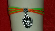 "SPORTS ROPE BRACELET-ORANGE/GREEN-SOFTBALL-GYMNASTICS- 6 1/2""-8 1/2""-SPORTS #223"