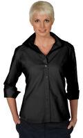 Edwards Garment Women's Wrinkle Free Open Neck Soft Poplin Blouse Shirt. 5040