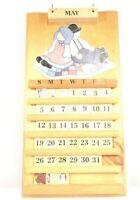 "Vintage Handmade Wooden Perpetual Calendar Amish Boy & Girl/ 21 1/2"" H Pre-Owned"