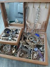LARGE JOBLOT COSTUME JEWELLERY IN WOODEN JEWELLERY BOX. UNSORTED.