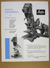 1959 Leitz Optical Instruments for Photomicrography Macro Photography vintage Ad