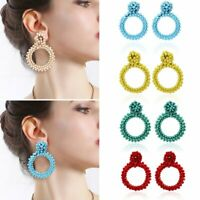 Geometric Dangle Drop Earrings Fashion Women Circle Braid Crystal Party Jewelry