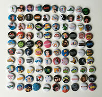 """Lot Of 100 Comic 90s Retro Pop Culture 1"""" Pinback Buttons Flair Pins Music"""