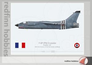 Warhead Illustrated F-8P Crusader Flotille 12F  D-Day Aircraft Print