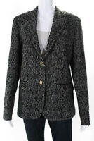 Domenico Vacca Womens Long Sleeve Blazer Jacket Black Tweed Size 46