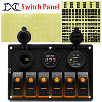 6 Gang Rocker Switch Panel Orange LED Waterproof Car Boat Marine Circuit Breaker