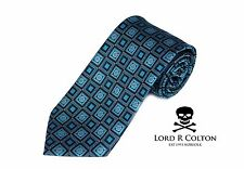 Lord R Colton Studio Tie Black Turquoise Geometric Woven Necktie $95 New