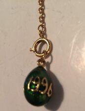 Joan Rivers Gold Plated Green Enamel 1996 Egg Charm W Extender