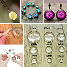 10-30mm Crystal Clear Round Cabochon Flat Back Glass Dome Tile Jewellery Making