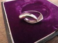 Ausergewöhnlicher 925 Silber Ring Verschlungen Abstrakt Designer Bauhaus Top