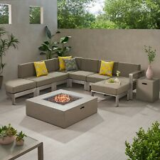 Cherie Half Round 5 Seater Sectional Set with Fire Pit and Tank Holder
