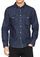LEE New Mens Western Denim Shirt New Men's Blue Print Jean Shirts Slim Fit