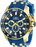 Invicta Men's Pro Diver Chrono 100m Gold-Tone S. Steel Blue Silicone Watch 26087