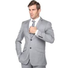 Renoir Men's Slim Fit Wool Suit Gray Size 46R/40