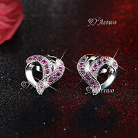 18K WHITE GOLD GF STUD MADE WITH SWAROVSKI CRYSTAL HEART EARRINGS RHODO