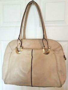 B Makowsky Womens XL Beige Leather Shoulder Bag Satchel Handbag Attache Work Bag