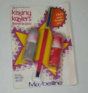 Vtg Maybelline Kissing Koolers Lip Gloss Watermelon Peppermint Doodler Pen 90s