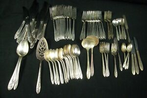 78 Pieces Tudor Plate Queen Bess Silverplate Flatware Oneida Community