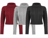 New Ladies Women Knitted Polo Neck Chunky Knit Cable Jumper Crop Sweater Top