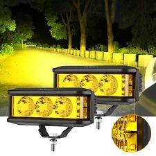 "AUXBEAM 5"" LED Work Light Bar Spot Pods Fog Driving Amber Lamp for Jeep Ford 4"""