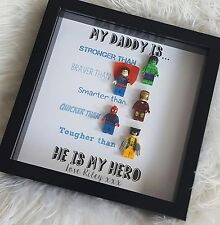 Personalised Superhero Lego Frame Daddy/Grandad/Uncle Christmas Birthday Gift