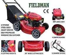 18' Self Propelled Lawn Mower Petrol 4 Blade 4 Stroke 55L Catcher 4 HP Deck Wash